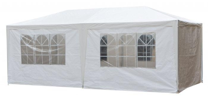 Chapiteau-3x6m-PE-120-gr/m2-blanc-avec-bâches-latérales