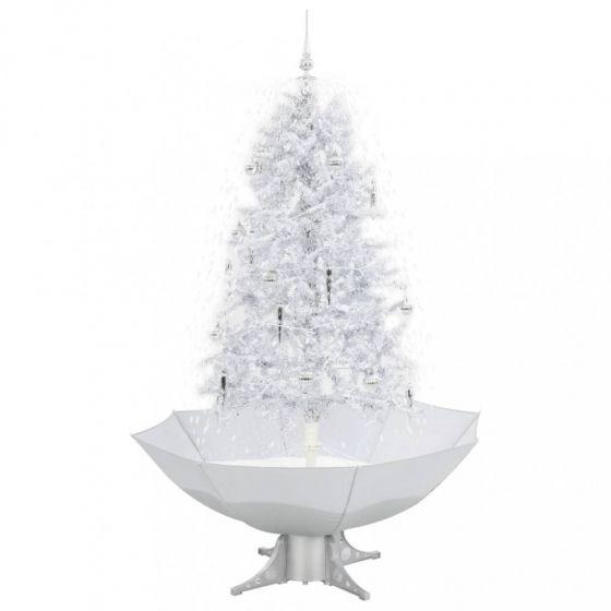 Sapin-de-Noël-Simulation-chute-de-neige---Blanc/Argent-170cm