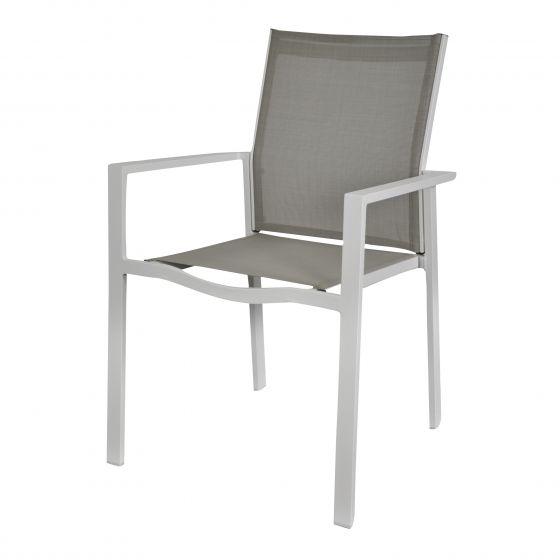 Chaise-empilable-aluminium-taupe/blanc