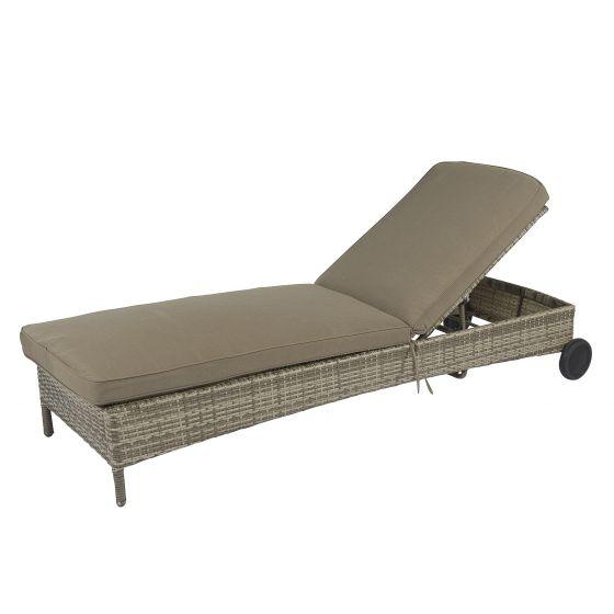 Chaise-longue-à-roues-en-résine-tressée---Cappucino