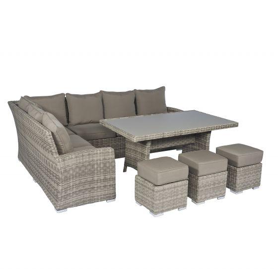 Ensemble lounge canapé d\'angle en résine tressée \