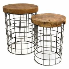 Table-d'appoint-en-teck-rond-(jeu-de-2-pièces)