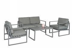"""Ensemble-lounge-Canapé-d'angle-aluminium-""""Dubai""""---Gris-foncé---Pure-Garden-&-Living"""