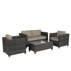 """Ensemble-lounge-""""Bari""""-en-résine-tressée-coin-salon-brun---Pure-Garden-&-Living"""