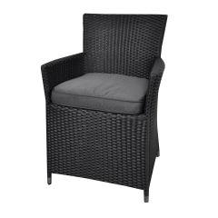 """Chaise-de-jardin-en-résine-tressée-""""Samos""""-noir"""