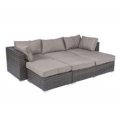"""Ensemble-lounge-&-îlot-lounge-""""Tripoli""""-en-résine-tressée-gris---Pure-Garden-&-Living"""