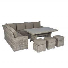 """Ensemble-lounge-canapé-d'angle-en-résine-tressée-""""Monaco""""-Cappucino-naturel---Pure-Garden-&-Living"""