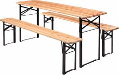 Ensemble Table et bancs brasserie 200 cm