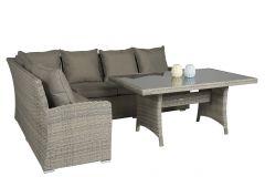 """Ensemble-lounge-Banquet-""""Sahara""""-en-Résine-tressée-Marron---Pure-Garden-&-Living"""