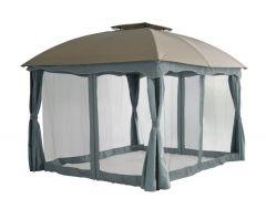 Barbados pavillon de jardin 3 x 3,65 mètres taupe / gris Pure Garden & Living