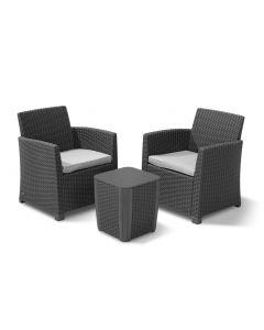 """Table et chaise balcon """"Mia"""" d'Allibert Résine tressée"""