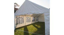 Tente de fête 5x8m PVC 400 gr/m2 blanc avec parois latérales