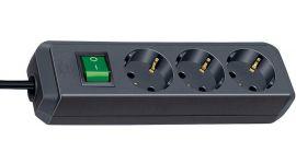 Multiprise Eco-line socle 3 prises avec interrupteur Noir Brennenstuhl