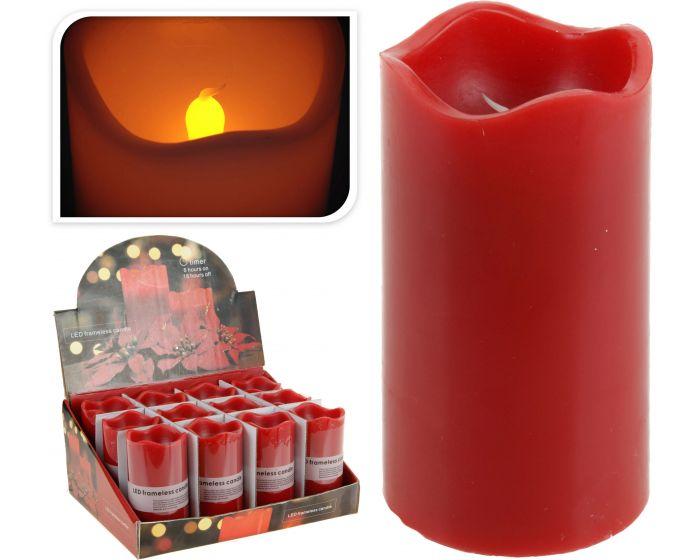 Bougie led avec minuterie 7x13 cm rouge