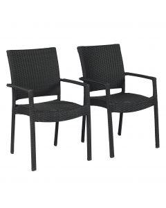 Chaise de jardin – En résine tressée empilable