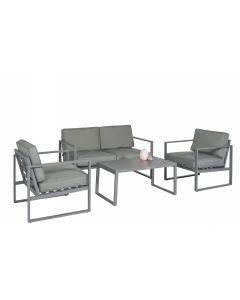 """Ensemble lounge Canapé d'angle aluminium """"Dubai"""" - Gris foncé - Pure Garden & Living"""