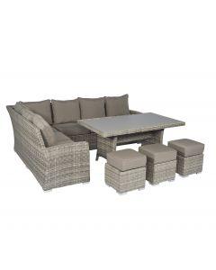 Ensemble lounge Pure Garden & Living Cappucino canapé d'angle en résine tressée naturel