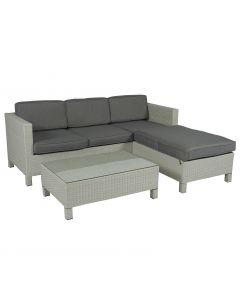 """Ensemble lounge """"Lima"""" canapé d'angle en résine tressée gris clair - Pure Garden & Living"""