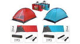 Set de camping avec tente, 2 sacs de couchage, 2 tapis de couchage + sac de transport