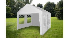 Chapiteau 4x4m PE 160 gr/m2 blanc avec bâches latérales